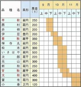 甘柿苗木 取り扱い品種および収穫期一覧表