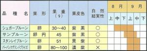 プルーン苗木 取り扱い品種および収穫期一覧表